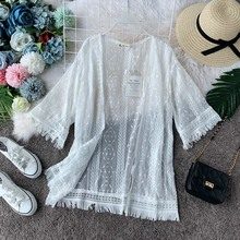 NiceMix White Embroidered Mesh Panel Fringe Hem Kimono Women 2019 New Spring Summer Vacation Beachwear Ladies Cardigan Kimono недорого