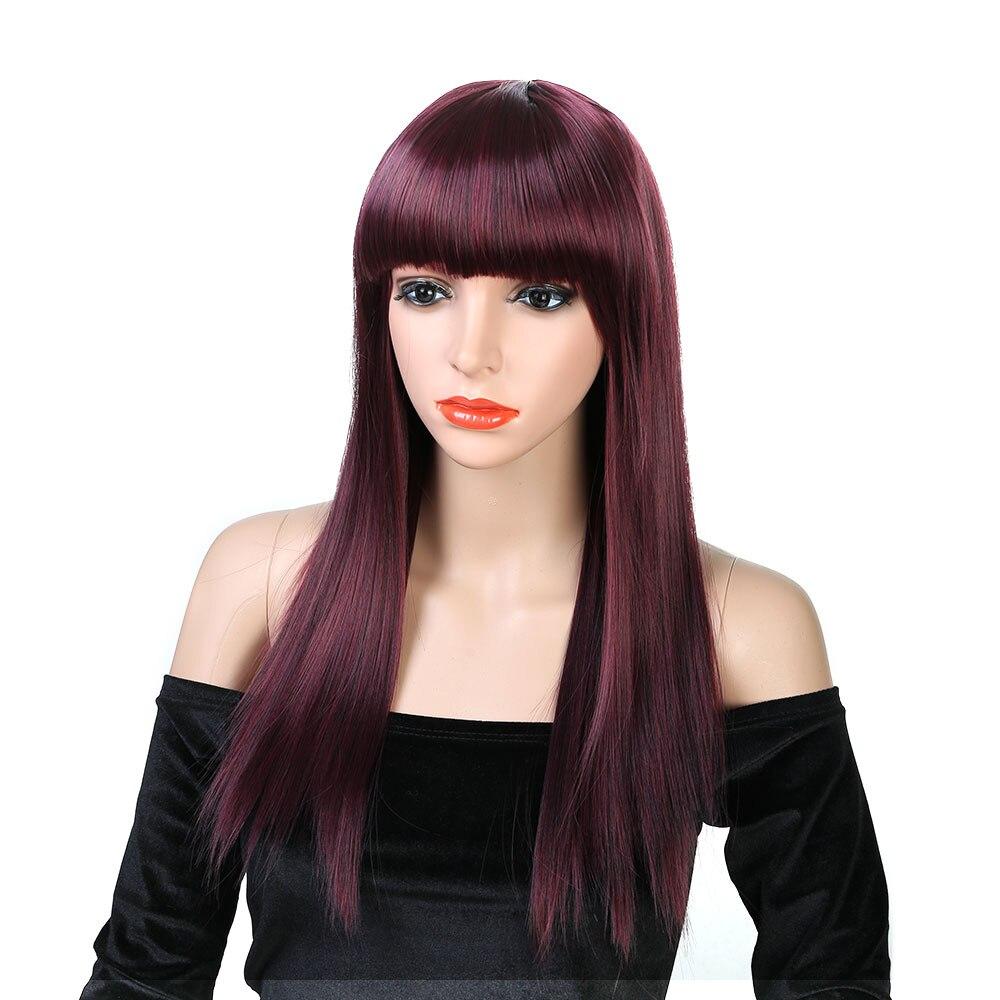 Pageup perucas de cabelo falso com franja para preto feminino rosa vermelho cosplay peruca afro longo preto loira peruca sintética perucas das mulheres venda