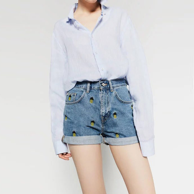 New Arrival Women Shorts Slim Embroidery Washed Denim Shorts Wild Casual Streetwear LBBI6147055-0701