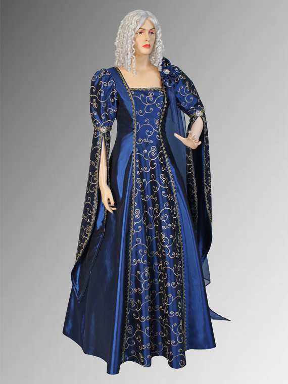 Renaissance Dress Gown Handmade from Embroidered Taffeta Multiple Colors Available Renaissance Dresses For Children