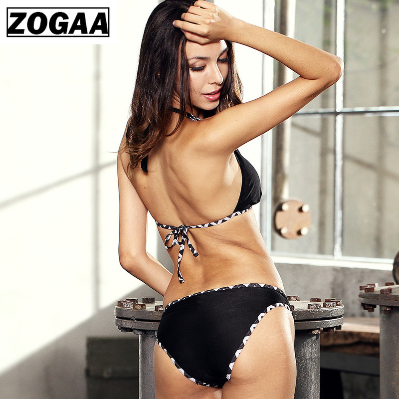 ZOGGA Sexy Solid Black Halter Women Bikini High-quality Nylon No Fade No Wrinkle Female Two Piece Set for Summer 2019