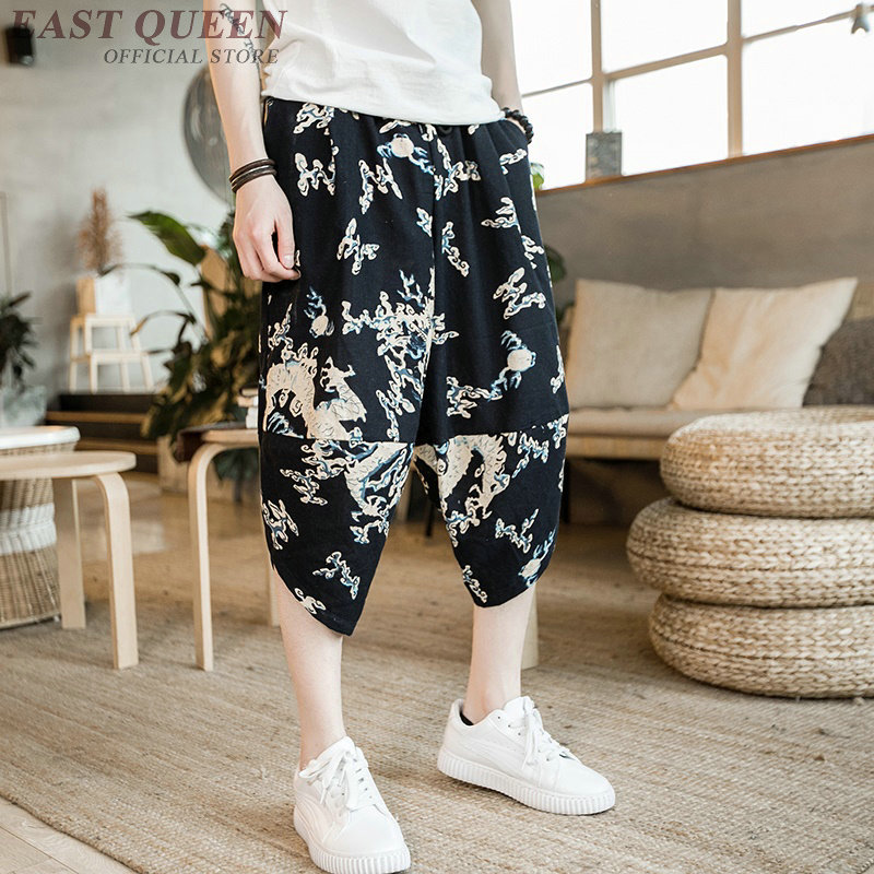 Chinese traditional kung fu wushu pants clothing for men male linen oriental style wide leg pants