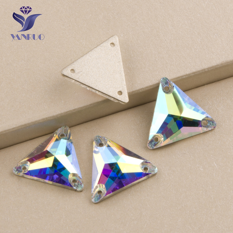 YANRUO #3270 All Sizes AB Triangle Glitter Diamond Flatback Strass Stones Sewing Rhinestone Sew On Crystal For Garments