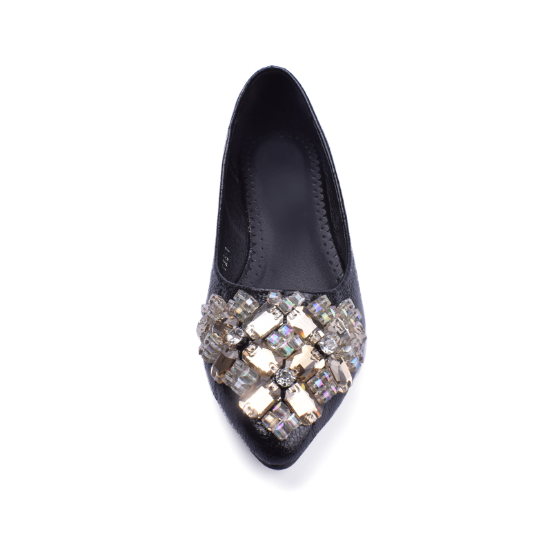 Rhinestone Flats Shoes Woman 2017 Dress Flats Female Ballet Shoes PLUS SIZE 34-43 Comfort Rhinestones Casual Flats zapatos mujer 3