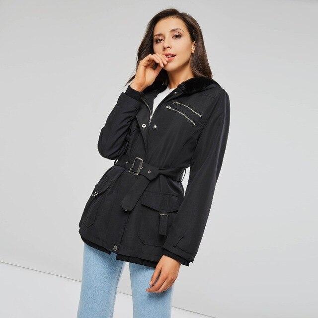 gothic Autumn women long coat winter fur hooded trench zipper pocket high waist slim plus size high street black lady hoodies
