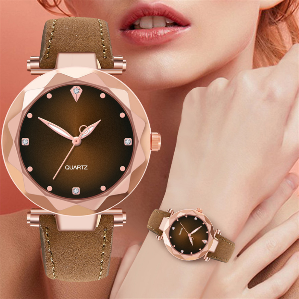 Dropshipping Women Luxury Brand Relogio Feminino Diamond Quartz Wrist Watch Round Analog Leather Band Horloges Casual Watch B30