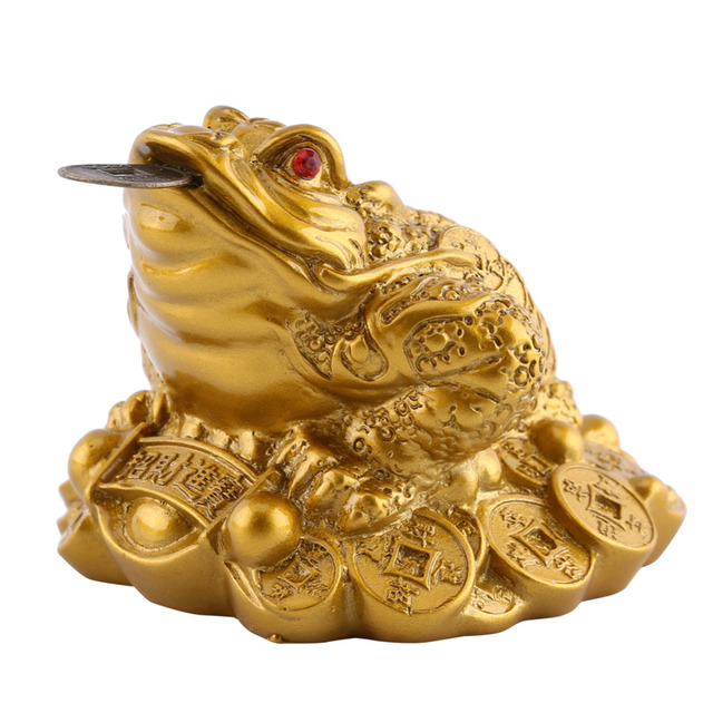 Feng Shui Toad Money LUCKY Fortune Wealth Chinese Golden Frog Toad Coin Home Office Decoration Tabletop Ornaments Lucky Gifts