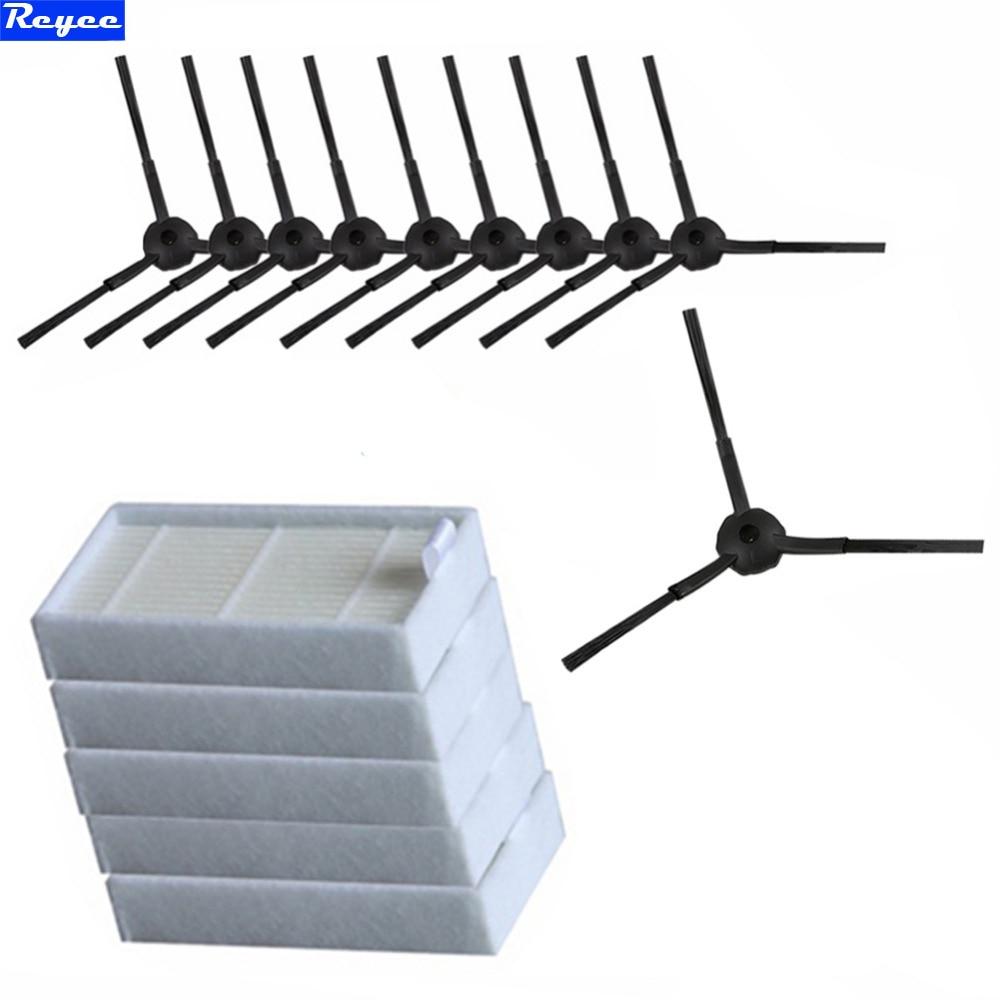 15pcs/lot side BrushX10pcs (5 pair)+hepa Filter X5 pcs for chuwi ilife V5 (CW310) V5 PRO V3 V3+ vacuum cleaner replacement