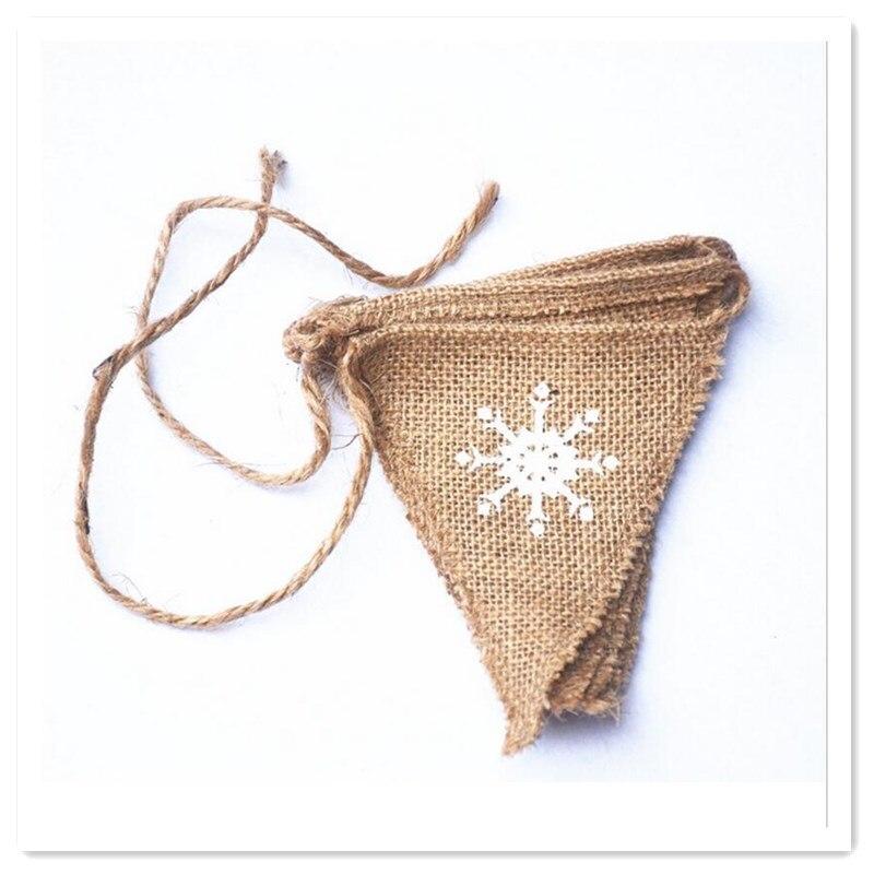 Vintage Juta Hessian Zastave Burlap Bunting Sa Pahuljica Tisak - Za blagdane i zabave - Foto 4