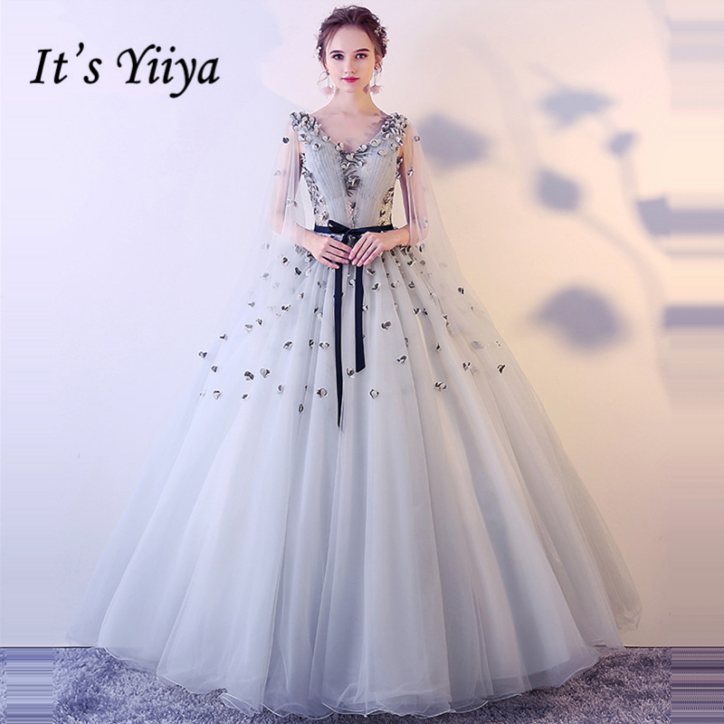 It's Yiiya Formal   Evening     Dresses   V-Neck Sashes Appliques Lace Up Sexy Floor Length Fashion Designer Formal   Dress   LX990