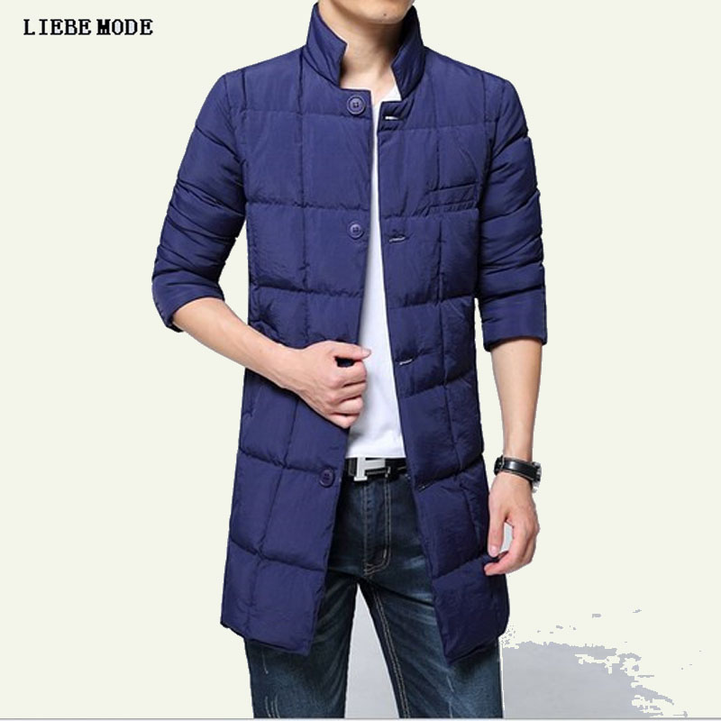 Long Parka Men Winter Thick Down Jacket Long Warm Cotton Padded Hooded Jackets and Coats Black White Grey Blue Plus Size 4XL 5XL 2016 new long winter jacket men cotton padded jackets mens winter coat men plus size xxxl
