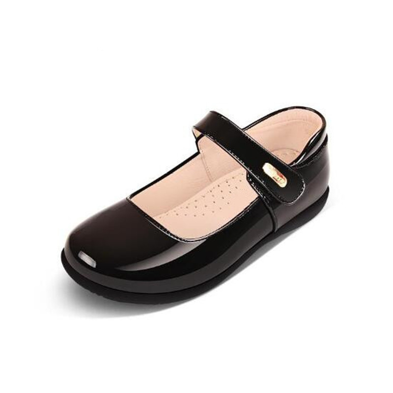 New Spring/Autumn Black Leather Shoes Children Dance Party Red Patent Leather Student Girls Performance Shoes Kids Flats 02B Leather Shoes     - title=