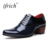 Ifrich New Arrival Pointed Toe Shoes For Men Hight Increase Mens Designer Shoes High Heels Blue
