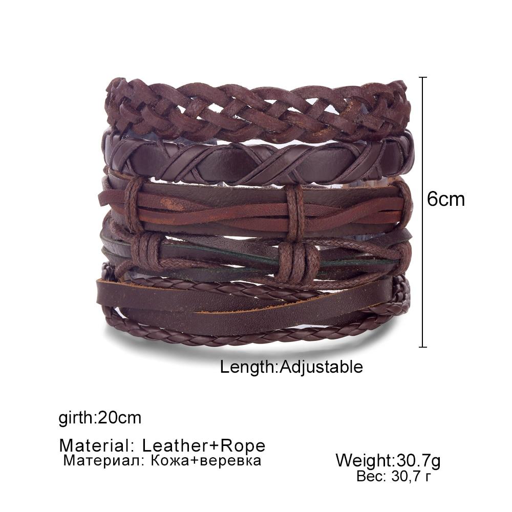 DAXI Vintage Tribal Bracelet Men Multi-layer Leather Bracelets Cuff Lace Weave Rope Bracelet & Bangle Male Wrist Band Ethnic