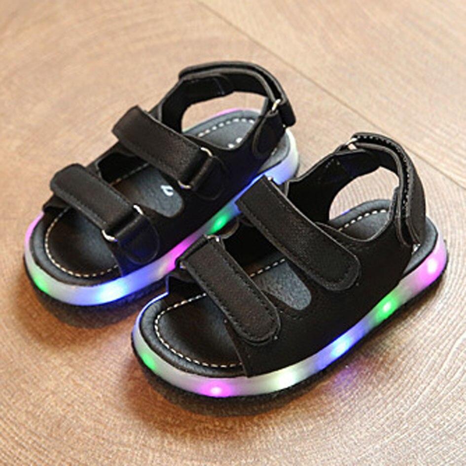 0cd9e1e62319 Boys Glowing Sandals LED light Kids Boy Children Shoes Tollder Baby Boys  Beach Sandal Soft Sole