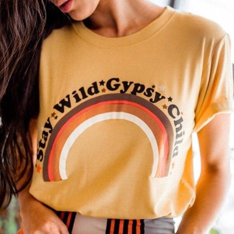Camisa de verão t camisa ficar selvagem cigano criança carta arco-íris impressão em torno do pescoço manga curta casual feminino topos camiseta