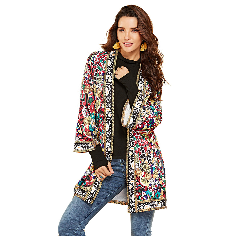 Women Autumn Outerwear Ethnic Floral Print Long Sleeve Boho Jacket Wrap Cardigans Fashion 2019 Women Clothes Chaquetas Mujer