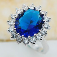 Blue Sapphire 925 Sterling Silver Top Quality Fancy Jewelry Wedding Ring Size 5 6 7 8