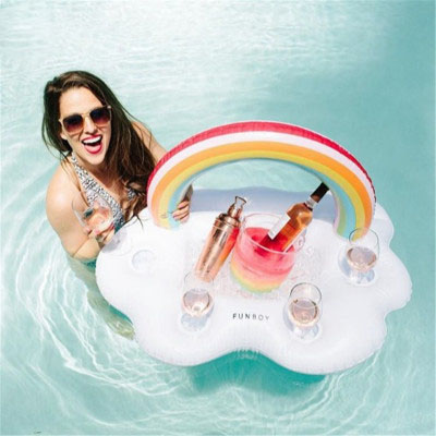 Rainbow Cloud Cup Holder Inflatable Mattress Ice Bucket Table Bar Tray Pool Party Beer Drink Food Float Swimming Party Fun Toy