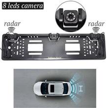 цена на New Arrival EU Car License Rearview Camera Plate Frame Russian license plate camera Two Reversing Radar Parking Sensors
