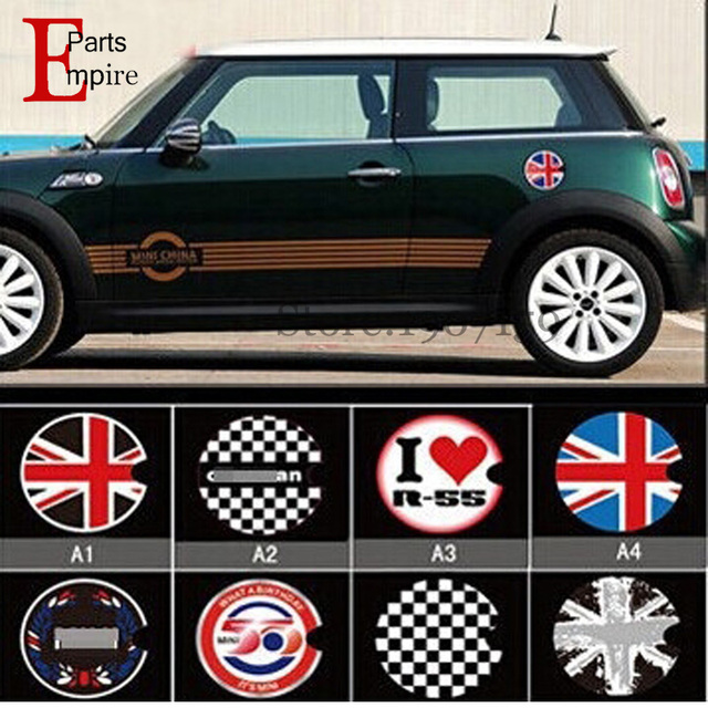 For Mini Cooper John Workds Gas Tank Cover Sticker Uk Flag R56 Union Jack Checker Emblem Cap