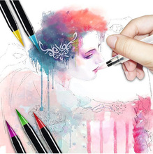 20 kolorów pędzle do akwareli malowanie kolorowy ołówek długopis na materiały malarskie zestaw artystyczny miękki pastelowy pędzel grzywny liniowej długopisy