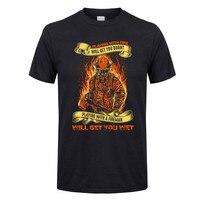 Футболка пожарный, играющий с огнем, подарит вам сгоревшую терморубашка мужская одежда из натурального хлопка с короткими рукавами популяр...