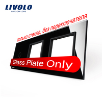 Free Shipping Livolo Luxury Black Crystal Glass 222mm 80mm EU Standard 1Gang 2 Frame Glass Panel