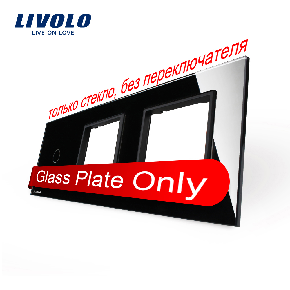 Free Shipping,  Livolo Luxury Black Crystal Glass, 222mm*80mm, EU standard, 1Gang &2 Frame Glass Panel, VL-C7-C1/SR/SR-12 free shipping car refitting dvd frame dvd panel dash kit fascia radio frame audio frame for 2012 kia k3 2din chinese ca1016