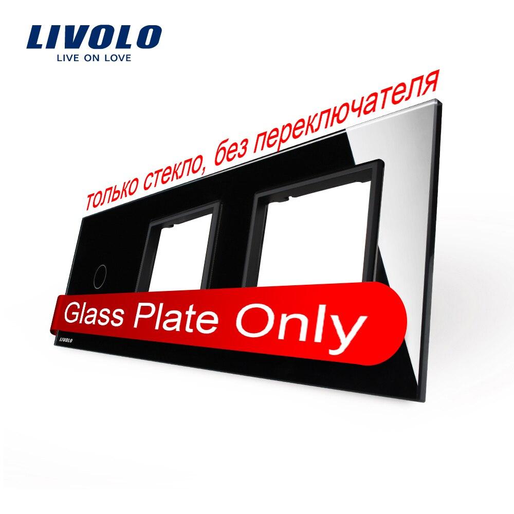 Free Shipping, Livolo Luxury Black Crystal Glass, 222mm*80mm, EU standard, 1Gang &2 Frame Glass Panel, VL-C7-C1/SR/SR-12