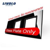 Free Shipping Livolo Luxury Black Crystal Glass 222mm 80mm EU Standard 1Gang 2 Frame Glass Panel