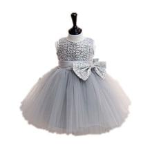 BBWOWLIN Baby Gilr Clothes Gray Sequins Sleeveless Vestidos Christmas Wedding Party Dresses for Vestido Festa Infant