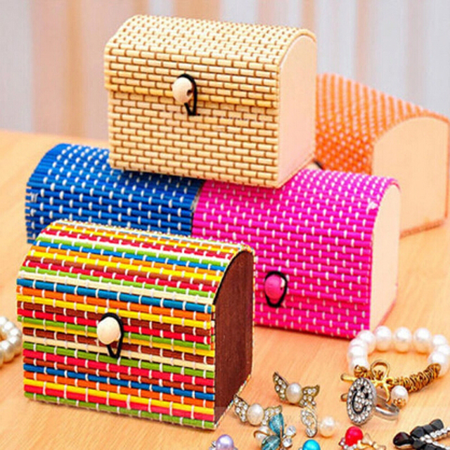 Cute Bamboo Wooden Ring Necklace Earrings Case Cute Jewelry Box