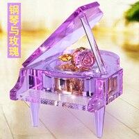 Хрустальная роза пианино музыкальная шкатулка коробка для девочек подарок на день рождения bestie вращающийся Романтический светодиодный по