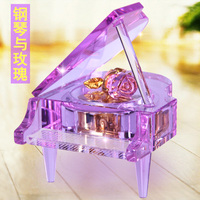 Crystal rose piano music box music box girls birthday gift bestie rotary romantic LED gifts