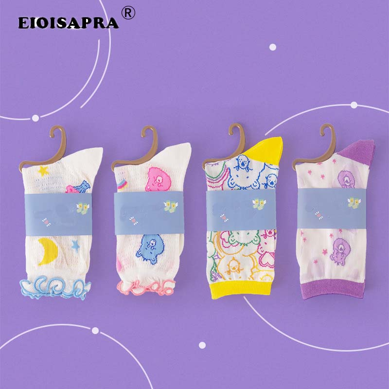 Spring/Summer Socks Fashion New Product Women Socks Comfortable Transparent Glass Silk BreathableCartoon Little Bear Socks Meias