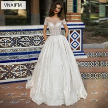 VNXIFM 2019  Wedding Dresses A Line O Neck Long Sleeve Sweep Train Bridal Gowns With Lace Applique Plus Size