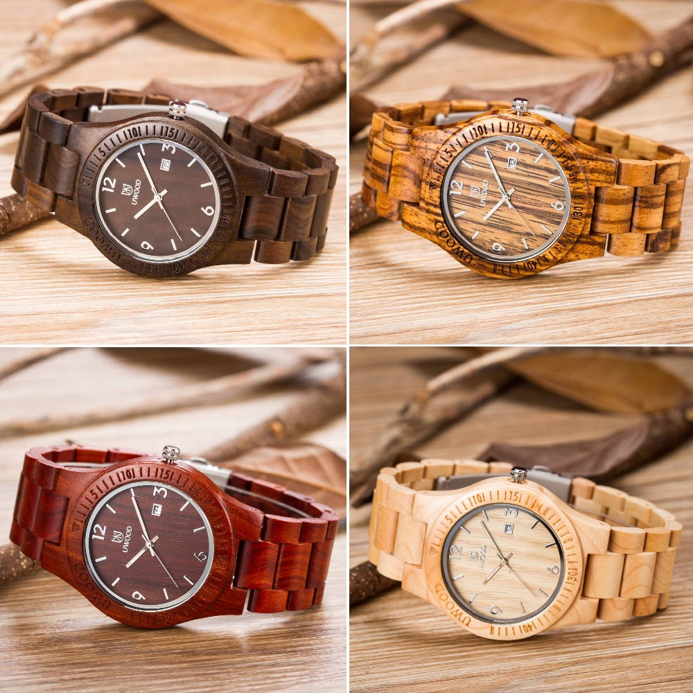 Fashion New Styles Maple Wood Watches Men's Luxulry Brand Clock Sandalwood Band Wooden Bamboo Casual Wristwatches Relojes Hombre