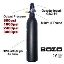 اسطوانة خزان الهواء للغوص وتسلق الجبال من الألوان PCP 4500psi/30MPA 0.2 0.35 0.45L HPA منظم ضغط زجاجات M18 * 1.5
