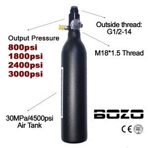 Воздушный баллон для пейнтбола, PCP для дайвинга, горного туризма, 4500psi/30MPA 0,2 0,35 0.45L HPA, высокая сжатая бутылка M18 * 1,5 регулятор
