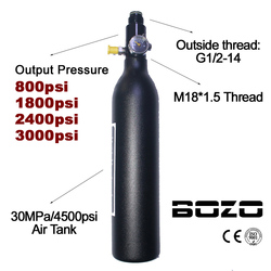 Paintball PCP buceo montañismo cilindro del tanque de aire 4500psi/30MPA 0,2 0,35 0.45L HPA botella de alta compresión M18 * 1,5 regulador