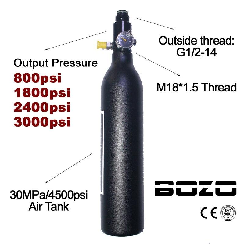 Spor ve Eğlence'ten Paintball aksesuarları'de Paintball PCP dalış dağcılık hava tankı silindir 4500psi/30MPA 0.2 0.35 0.45L HPA yüksek sıkıştırılmış şişe M18 * 1.5 regülatörü title=