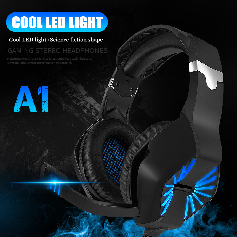 """תאורה אחורית 3.5 מ""""מ Gaming Headset Gaming אוזניות סטריאו גיימר מיקרופון אוזניות מיקרופון Led תאורה אחורית משחק אוזניות עבור PC PS4 טלפונים מחשבים (3)"""