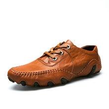 5c5495a61 Hot Sale 2019 New Homens Casual Sapatos Masculinos Adulto Couro Genuíno  Marca Outono Inverno Andando Motorista