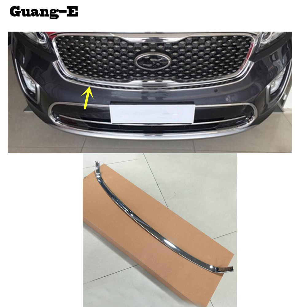 Car ABS chrome front engine Machine grille Grid Grill upper hood stick lid trim lamp 1pcs For Kia Sorento L 2015 2016 2017 2018 for toyota corolla altis 2014 2015 2016 car body styling cover detector abs chrome trim front up grid grill grille hoods 1pcs