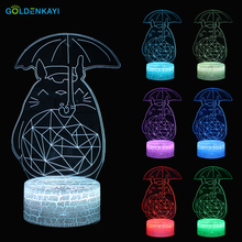 3D Totoro LED Originality Night Lights Atmosphere Lamp Cartoon Toys Luminaria USB Colorful Table Night Lamp Gift For Kids Toy quadruple 3d dinosaur night lights colorful changing simulation dinosaur lamp halloween funny tricky atmosphere table lamp