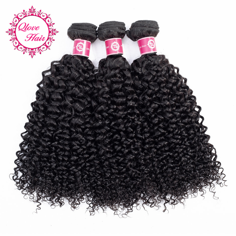 QLove Hair Pre-Colored Peruvian 100% Human Hair Bundles Kinky Curly 3 Bundles Natural Color Non Remy Hair Weave 8-26 Inch