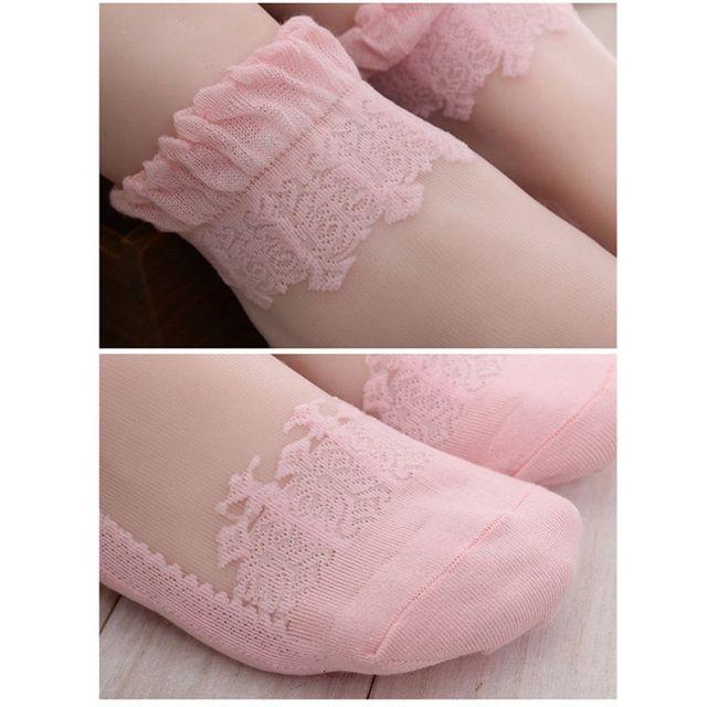 New Fashion Princess Girls  Women Ultrathin Transparent Beautiful Crystal Lace Elastic Short Women Socks Pink Sock