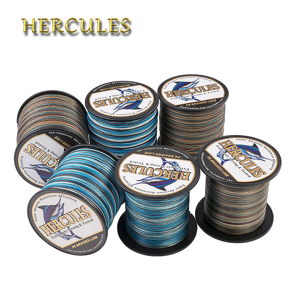 Hercules Fishing Line 4 Strands 100M 300M 500M 1000M 1500M 2000M PE Braided Wire Camo 6-100LB Saltwater Carp Fishing Cord Pesca new gevlochten draad braided fishing line wire 8 strands 1000m pe 100