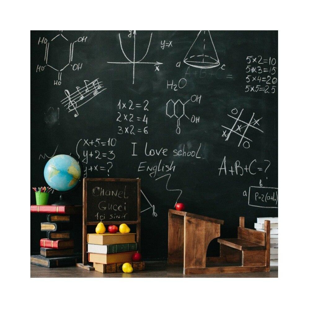 Quadro negro de volta à escola giz globo livro estudo sala de aula criança retrato fotografia pano de fundo foto para estúdio
